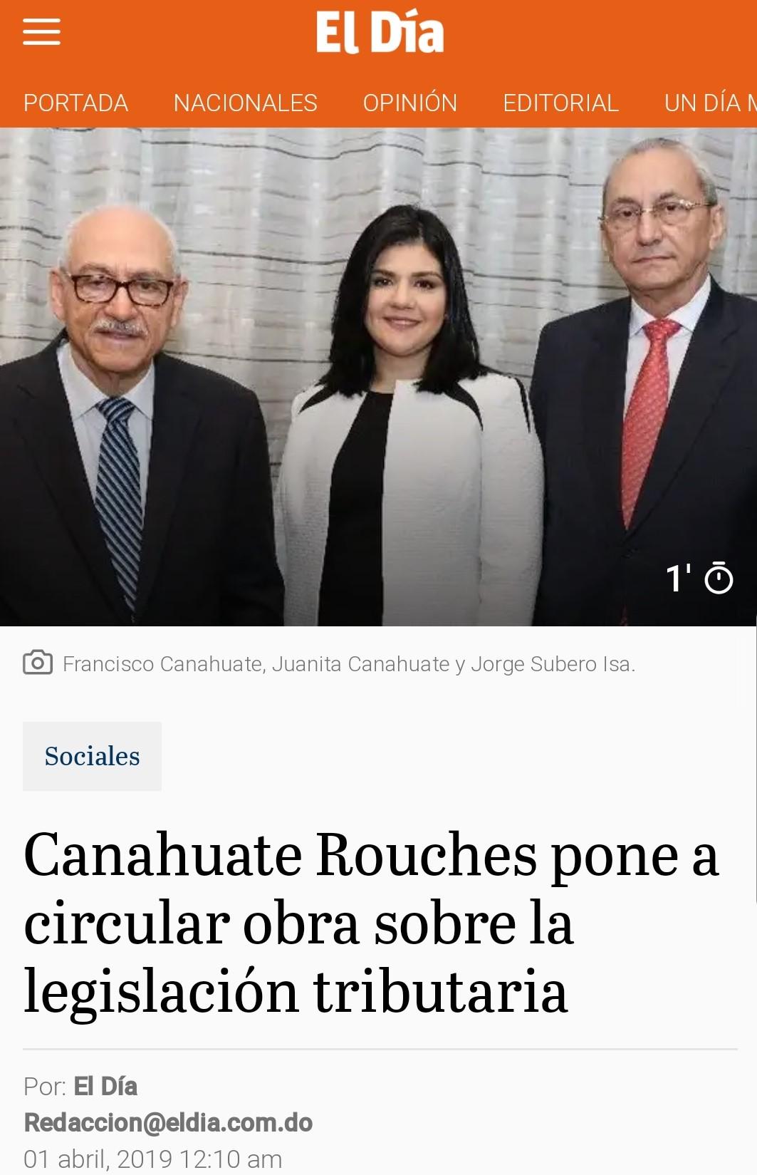 Canahuate Rouchès pone a circular obra sobre la Legislación Tributaria Dominicana